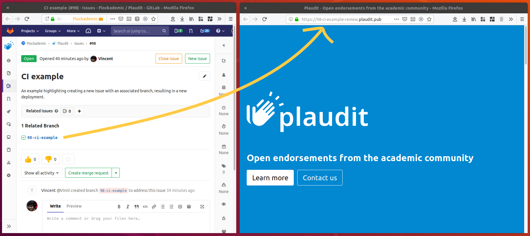 Screenshot of the Plaudit website deployed to https://98-ci-example-review.plaudit.pub, next to the Issue it was created for.